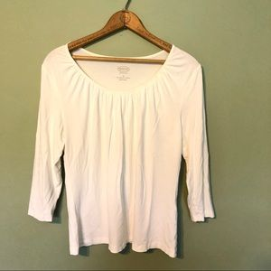 Talbots | EUC White Simple Soft Ruched Blouse